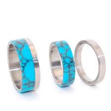 turquoise wedding rings minter richter titanium rings turquoise wedding rings