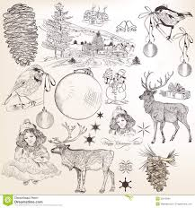 christmas set of hand drawn elements for design royalty free stock