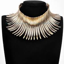 long necklace fashion jewelry images High neck collar gold tribal african choker necklace elegant jpg