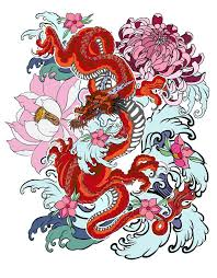 japanese style old dragon with koi carp tattoo japanese style stock vector