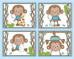 monkey 8x10 wall art prints baby boy jungle safari nursery decor