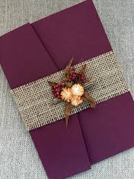 purple and gold wedding invitations autumn rustic wedding invitation burgundy burlap wedding