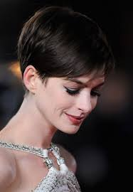 side and front view short pixie haircuts anne hathaway s short haircut chic brunette pixie haircut