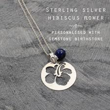 gemstone silver necklace images Gemstone hibiscus flower silver personalised necklace name and jpg