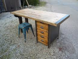 bureau atelier bureau etabli 5 tiroirs atelier acier chêne pied fonte 1930