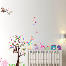 Nursery Wall Decals Animals by A Colorful Tree And Colorful Animals Wall Decal Sticker