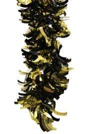 black and gold metallic shiny tinsel garland