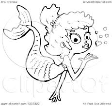 lineart clipart of a cartoon black and white mermaid blowing a
