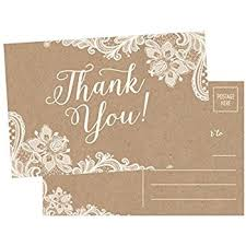 thank you postcards 50 4x6 rustic kraft thank you postcards bulk
