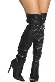black faux leather thigh high peep toe boots cicihot boots