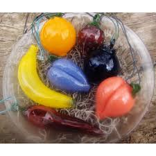 blown mini glass fruit ornament set