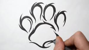draw paw print tribal tattoo design style