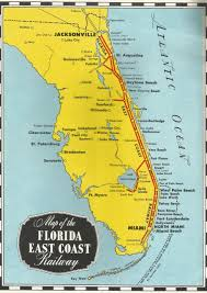 Map East Coast Florida by 1950s Florida East Coast Railway Booklet Streamliner Memories
