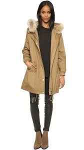 vince fur lined parka brass khaki in natural lyst