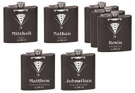 Bride And Groom Flasks Northwest Gifts Personalized Tuxedo Flask Wedding Gift Set Of 7