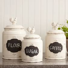 White Kitchen Canister Square And White Ceramic Modern Kitchen Canister Set For