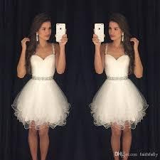 Cheap Cocktail Party Ideas - spaghetti straps white homecoming dresses 2017 beading waistline