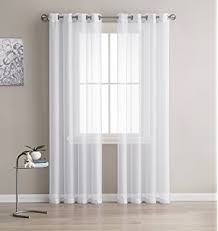 Drapery Panels With Grommets Amazon Com Hlc Me 2 Piece Sheer Window Curtain Grommet Panels