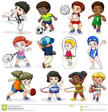 kids engaging in different sports activities stock vector image