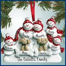 personalized ornaments snowman family