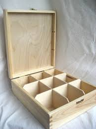 unfinished wooden tea box with 9 sections and lock eco friendly