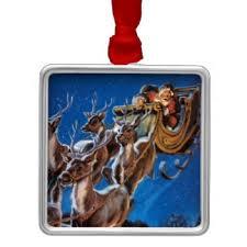 santa sleigh flying reindeer ornaments keepsake ornaments zazzle