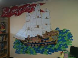 pirate ship decoratedschool tall ship mural pirate ship library display