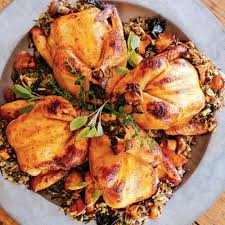 cornish hens with rice and dinner
