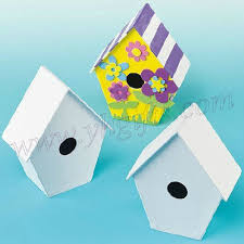 6pcs lot paint unfinished cardboard bird house drawing toys early