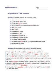 prepositions of time answers english worksheets pdf drive