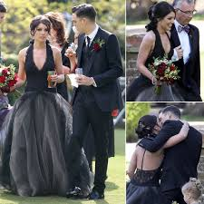 Celebrity Brides Who Wore Unconventional by Shenae Grimes Marries U2014 In A Black Dress Vera Wang Gowns