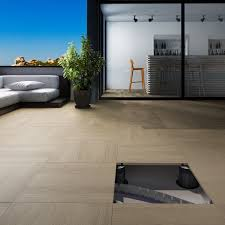 outdoor porcelain tiles can be installed on to pedestals for easy