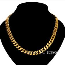 length mens necklace images Online shop thick cuban chain stamped yellow gold gp mens necklace jpg