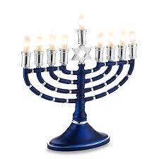 menorah electric electric blue and silver menorah bed bath beyond
