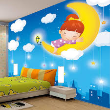Cartoon Wall Painting In Bedroom Custom Photo Wallpaper Moon Stars White Clouds Cartoon