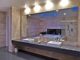 attractive master bathroom vanity lights using led puck lighting