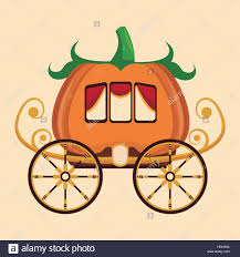 pumpkin carriage beautiful pumpkin carriage wheel gold stock vector
