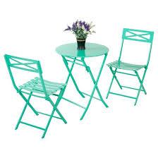 Metal Folding Bistro Chairs 3pc Metal Patio Folding Bistro Set Turquoise Captiva Design