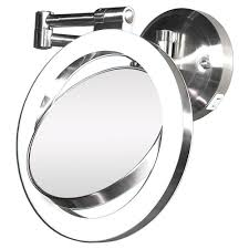Double Sided Bathroom Mirror by Zadro Surround Light 10x 1x Wall Mirror In Satin Nickel Slw410