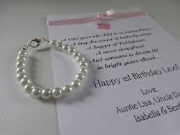 keepsake gifts for baby baby girl 1st birthday gift pearl bracelet with birthday card