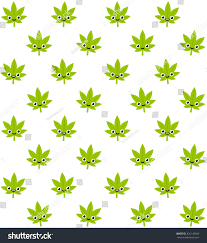 Cute Plant by Cartoon Smiling Cannabis Plant Seamless Pattern Stock Vector
