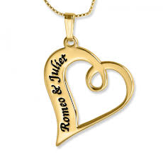 name pendant couples name necklace twisted heart pendant 24k gold