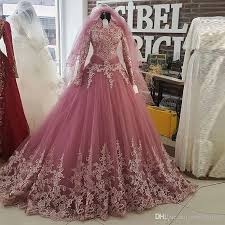 islamic wedding dresses pink arabic muslim wedding dress 2017 new arrival lace bridal