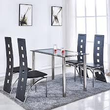 glass breakfast table set 5 piece glass dining table set 4 leather chairs kitchen room
