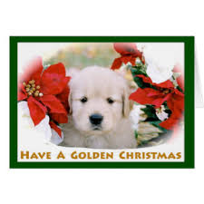cute golden retriever puppy christmas cards invitations
