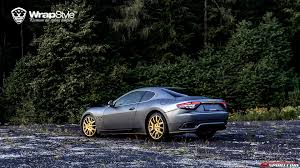 gold maserati quattroporte maserati granturismo wrapped in grey aluminum by wrapstyle gtspirit
