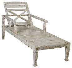 Patio Chaise Lounge Chair Solid Teak Wood Outdoor Chaise Lounge Chair Antique White Beach