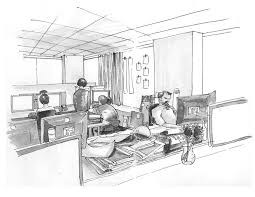 42 sketches drawings and diagrams of desks and architecture