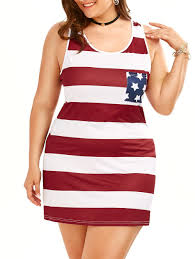 Flag Dress 2018 Plus Size Sleeveless Tank American Flag Dress Colormix Xl In