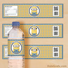 printable despicable minions water bottle labels